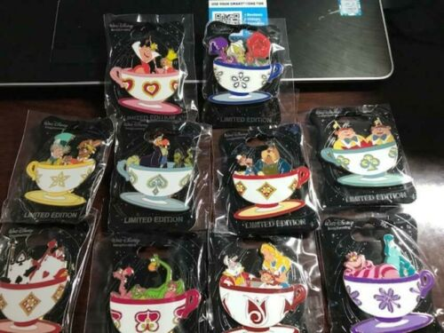 Disney WDI Mad Tea Party Alice In Wonderland Tea Cup set of 10 LE 250 PINS