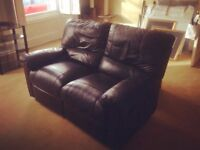 Two Seater Recline Brown Sofa