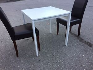 IKEA white kitchen/dining table with 2 leather chairs.  London Ontario image 3