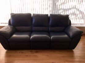 Navy Real Leather 3 Seater - QUICK SALE