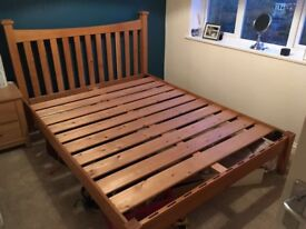 Solid oak king size bed - SOLD