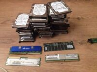 Joblot of laptop parts, ram, hard drives, CD drives, laptops chargers and more
