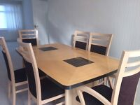Large dining table & 6 matching chairs