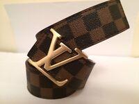 Louis Vuitton Damier Brown Belt with Gold Buckle (34 inch waist)