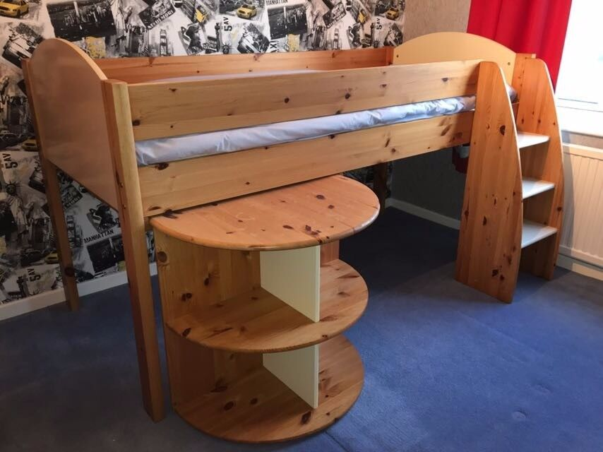 Stompa Cabin Bed with desk, drawers, cupboard & mattress