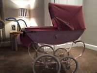 Silver Cross Chatsworth Dolls Pram Rose with Tray and Bag
