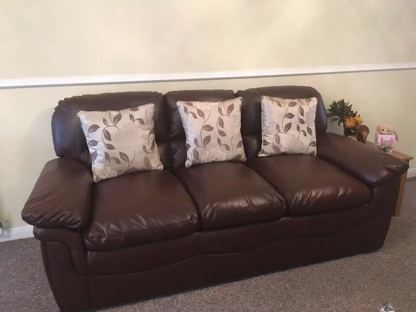 FREE - Three-seater faux leather and two-seater sofas