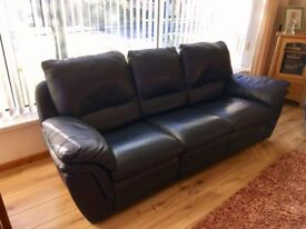 Navy Real Leather 3 Seater - Quick sale £80