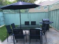 Garden furniture chairs, table, parasol and BBQ
