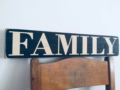 Family sign Wood Vintage Style Gift Old Wooden kitchen mum Love