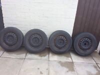 4 steel rimmed wheels off a T4 transporter van