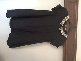 Blonde and blonde size 16 black dress with leopard print collar