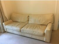 Free! Cream leather sofa, Old and not in amazing condition but comfy. Must Collect by Thurs 1st