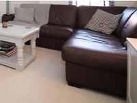 Real Italian Brown Leather L-shape Sofa - Excellent Condition