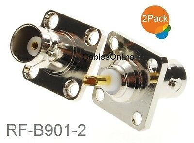 2-Pack Commercial Grade BNC Female Jack Bulkhead Panel Chassis Mount Connector ()