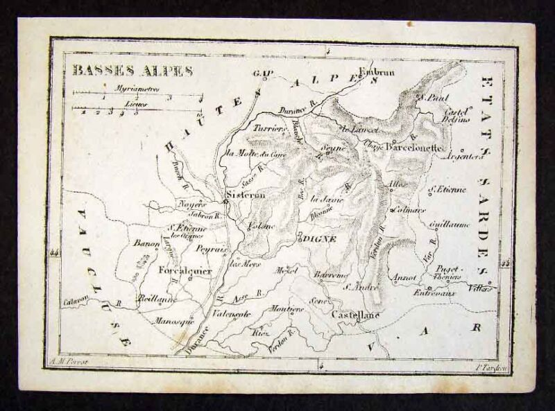 1833 Perrot Tardieu Map - Basses Alpes de Haute France - Miniature Antique Map