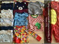 Boys pyjamas& long sleeved vests aged 2-3 years.