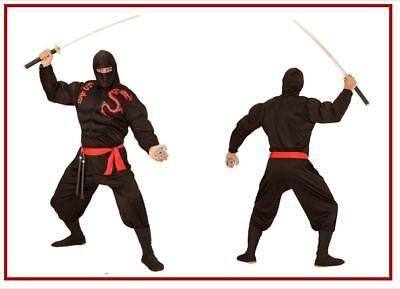 Ninja Super Muskel Samurai Kämpfer Fighter Kostüm Fasching Karneval Herren, - Super Samurai Kostüm