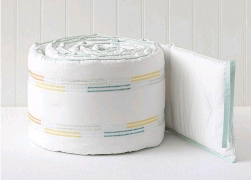 NEW Pottery Barn Kids Baby ROWAN Crib Bumper NWT White Colorful Stitching