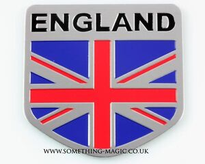 NEW Brushed Aluminium England Union Jack Flag GB UK Car Badge Rover