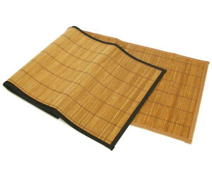 Brown-Natural-Bamboo-Table-Runners-w-Black-Edge-Trim-13x60-Linen