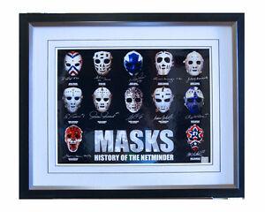 Framed MASKS Signed by 12 Goalie Legends Hall Bower Palmateer