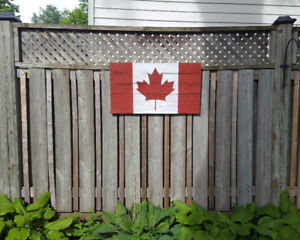 HAND MADE SOLID WOOD CANADA FLAG