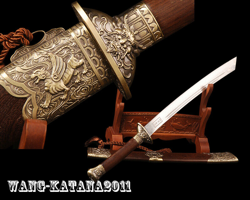 Traditional Rosewood Chinese Sword Dragon Tiger Broadsword Folded Steel Dao