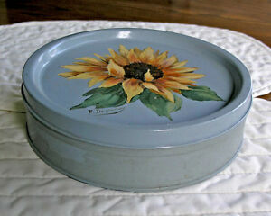 Hand Decorated Cookie Tin (Signed) Vintage