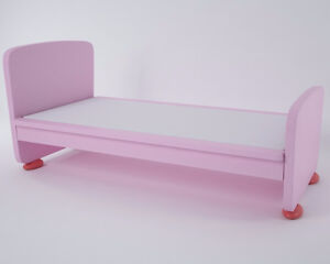 IKEA MAMMUT Bed frame with slatted bed base_Pink/Red