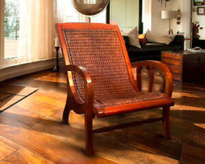 Teak and Hand-woven Rattan Chair (Plantation style)