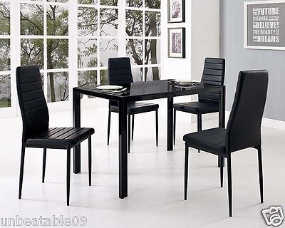 Glass Dining Table Set and with 4 Black Faux Leather Chairs Rectangle Designer