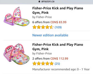 Fisher- price kick and play piano gym, pink