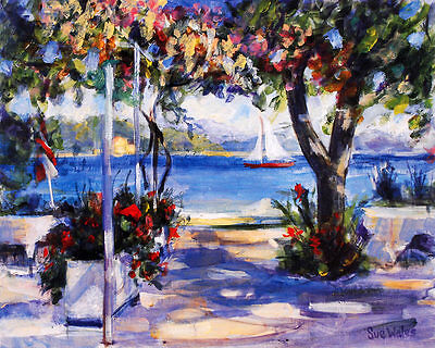 Sue Wales View from Nidri Greece Poster Kunstdruck Bild 50x63cm