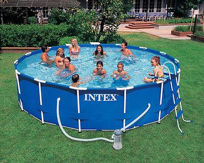 Pool Set  Intex 18ft X 48in Metal Frame with Filter Pump, Ladder