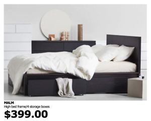Ikea Double Bed Frame with Drawers - $200