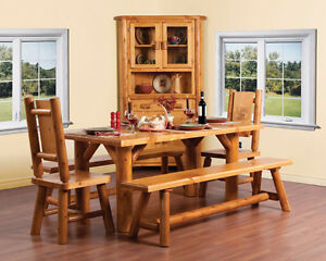 Amazing Deal - Solid Wood, Live-Edge Dining Table Set