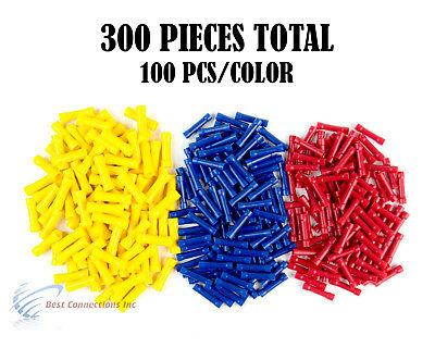 300 Pcs Red Blue Yellow Vinyl Butt Connector 22 10 Gauge 12V Electrical Install