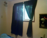 Black Curtains & Curtain Rod