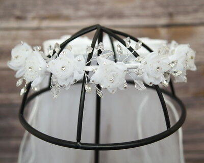 Girls First Holy Communion Flower Wreath Crown Head Piece Veil Primera Comunion (First Holy Communion Headpieces)