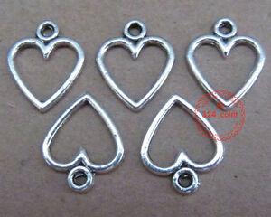 P026-50pcs-Tibetan-Silver-Dangle-Charm-Love-Heart-Beads-Findings-Wholesale