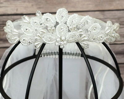 Girl First Communion Pearl Wreath Crown with Rattail Edge Veil Primera Communion