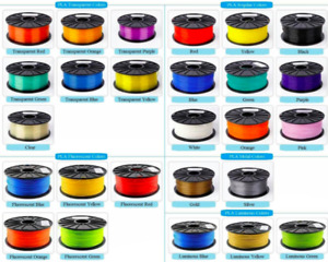 PLA / ABS 3D 1.75mm Filament $20 spool Kilogram ALL COLOURS
