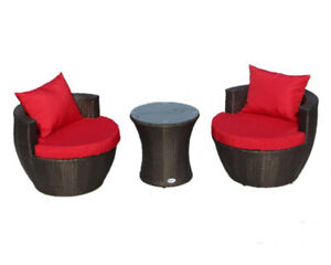 Three piece patio set- two rounded chairs + glass table