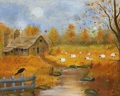 Country Seasons Sheep Barn Fall Autumn Stream Black Crow Primitive Art Print ()