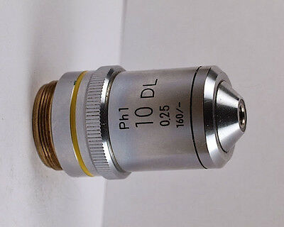Nikon 10x .25 Dl Ph1 160mm Phase Contrast Microscope Objective