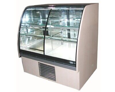 Qbd Display Case Double Refrigerated Very Nice Curved Glass Pies Bakery Cakes