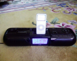 JVC iPod iPhone Dock Alarm Clock Radio Portable w iPod Nano