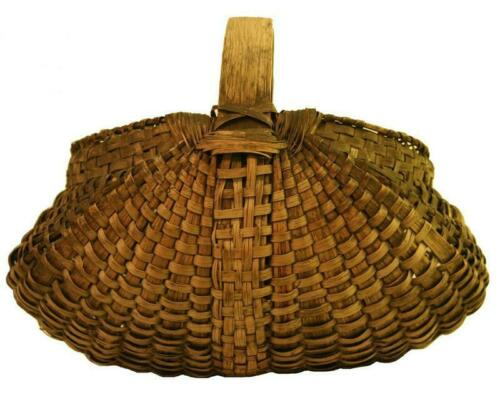 "Antique Ash  Splint  Basket,  11"" Diameter at the Rim"