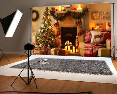 Indoor Christmas Vinyl 8x8ft Background Studio Photo Props Fireplace Backdrops
